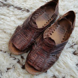 Mexican Huaraches Brown Leather Woven Sandals 8